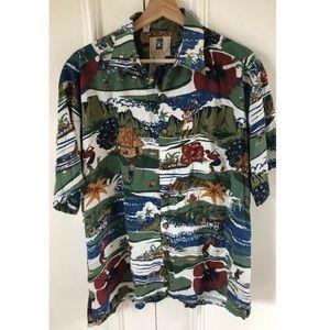 KAHALA Hawaiian Golf Button Front Shirt